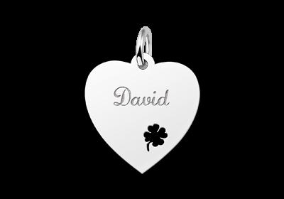 Zilveren graveerplaatje hart met klaver 4