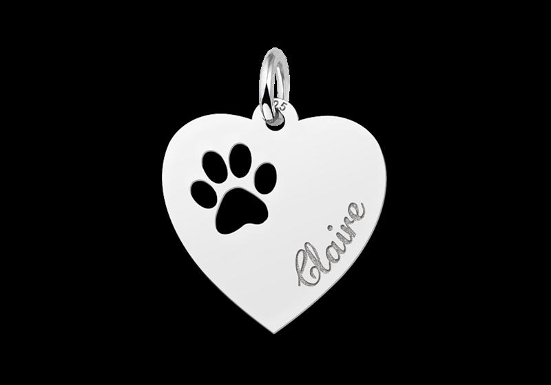 Zilveren graveerplaatje hart met pootje