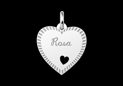 Zilveren graveerplaatje hart met rand en hartje