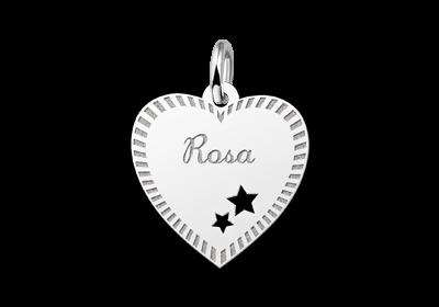 Zilveren graveerplaatje hart met rand en sterretjes