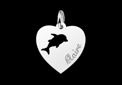 Zilveren graveerplaatje kind hart met dolfijntje