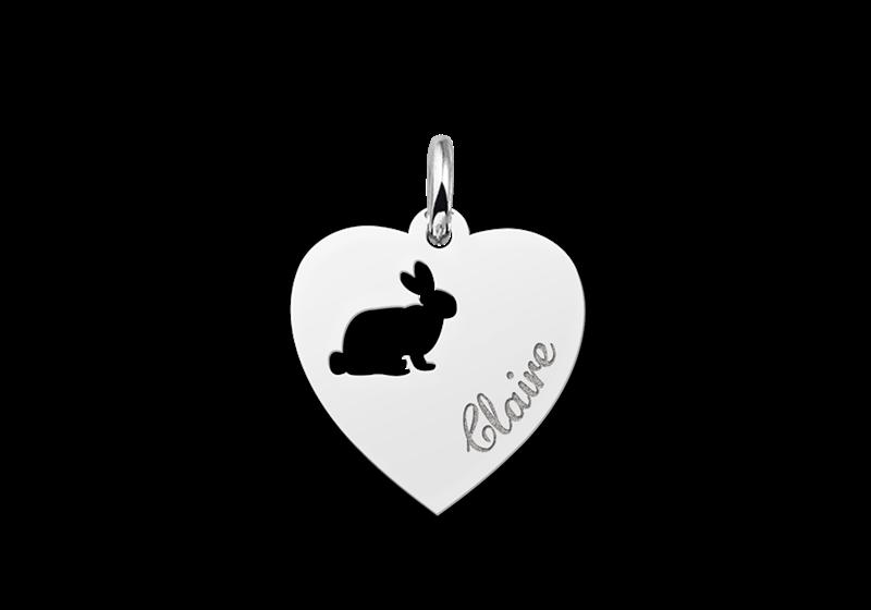 Zilveren graveerplaatje kind hart met konijntje