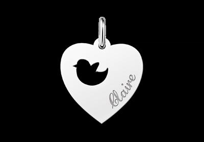 Zilveren graveerplaatje kind hart met vogeltje