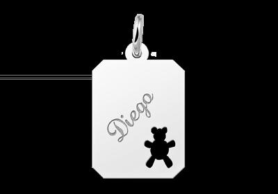 Zilveren graveerplaatje kind recht met beertje