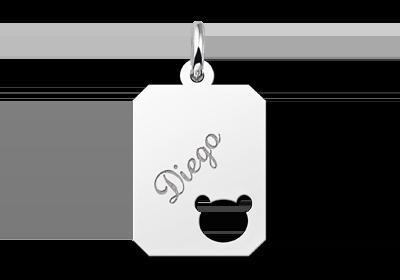 Zilveren graveerplaatje kind recht met berenkopje