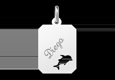 Zilveren graveerplaatje kind recht met dolfijntje