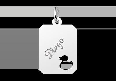 Zilveren graveerplaatje kind recht met eendje