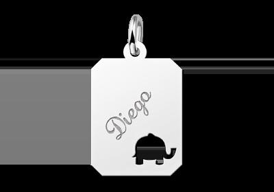 Zilveren graveerplaatje kind recht met olifantje