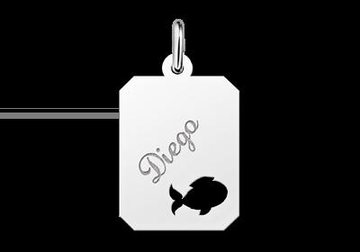 Zilveren graveerplaatje kind recht met visje