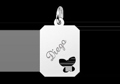Zilveren graveerplaatje kind recht met vlinder