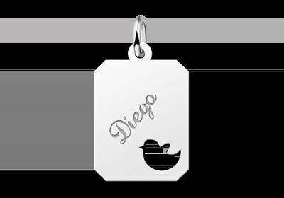 Zilveren graveerplaatje kind recht met vogeltje
