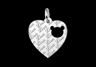 Zilveren graveerplaatje kind repeat hart met berenkopje