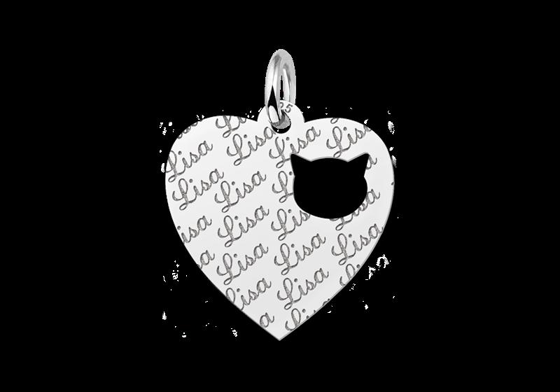 Zilveren graveerplaatje kind repeat hart met poezenkopje