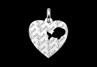 Zilveren graveerplaatje kind repeat hart met visje