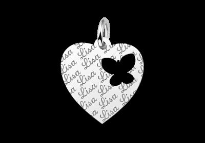 Zilveren graveerplaatje kind repeat hart met vlinder