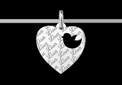Zilveren graveerplaatje kind repeat hart met vogeltje