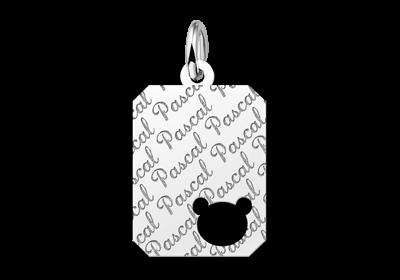 Zilveren graveerplaatje kind repeat recht met berenkopje