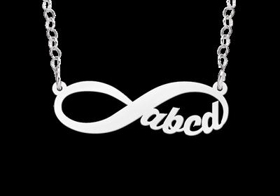 Zilveren hanger infinity 4 letters geschreven