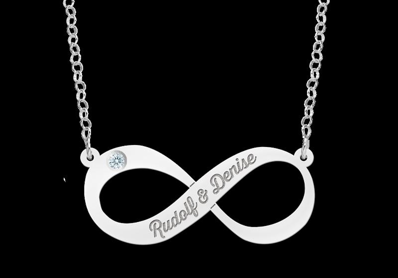 Zilveren hanger Infinity naam met zirkonia