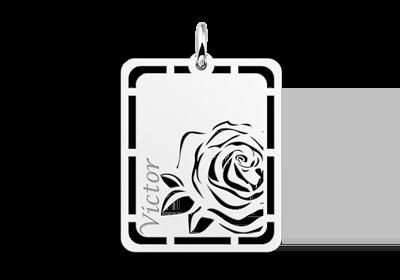 Zilveren hanger roos graveren met naam