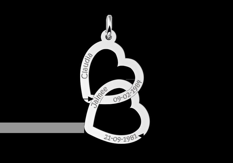 Zilveren hanger twee harten Gegraveerd