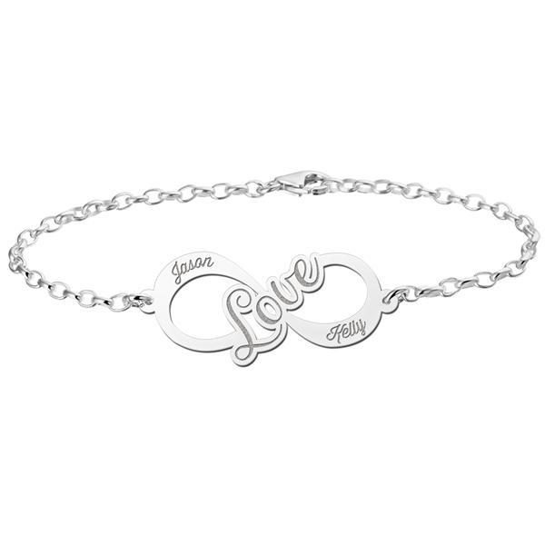Gegraveerde Zilveren infinity armband love
