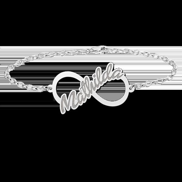 Gegraveerde Zilveren infinity armband met geschreven naam