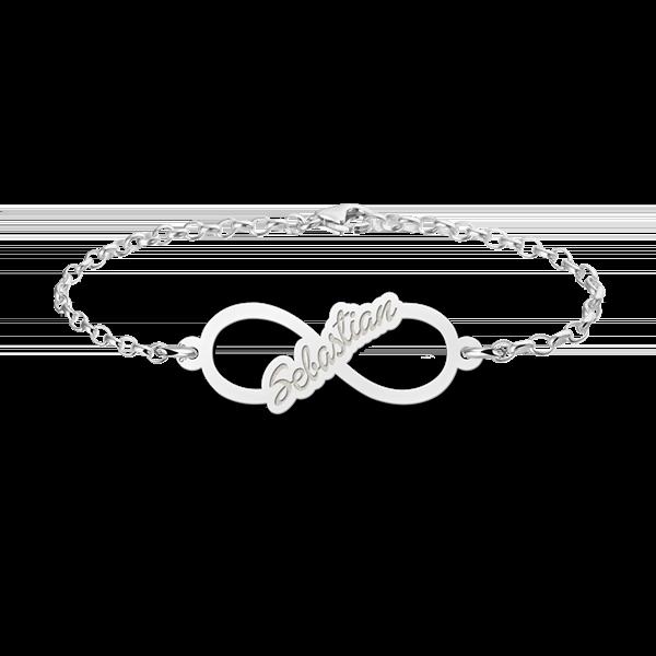 Gegraveerde Zilveren infinity armband met geschreven naam - Small