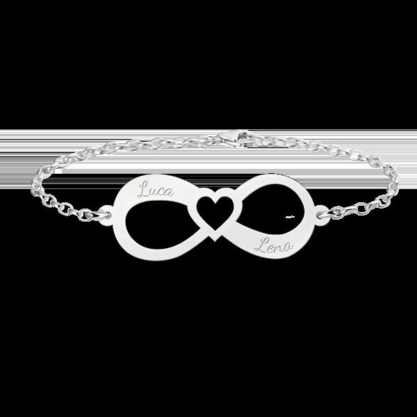 Gegraveerde Zilveren infinity armband met twee namen en een hart