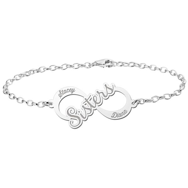 Gegraveerde Zilveren infinity armband sisters