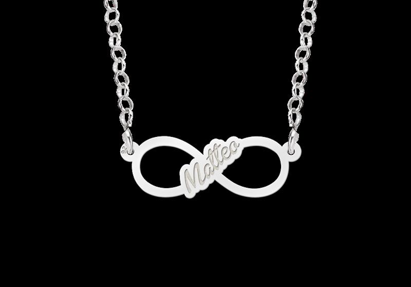 Zilveren infinity ketting met geschreven naam - small