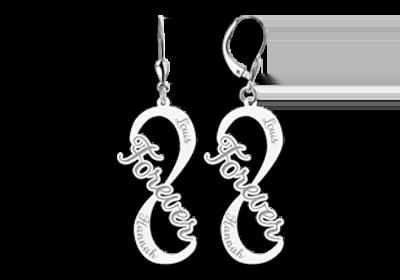 Zilveren infinity oorbellen met naam model forever