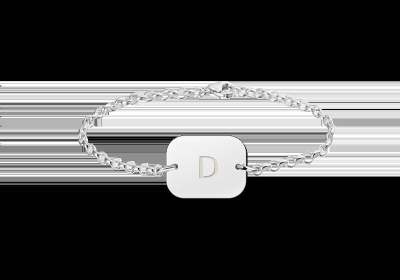 Gegraveerde Zilveren initial armband rechthoek