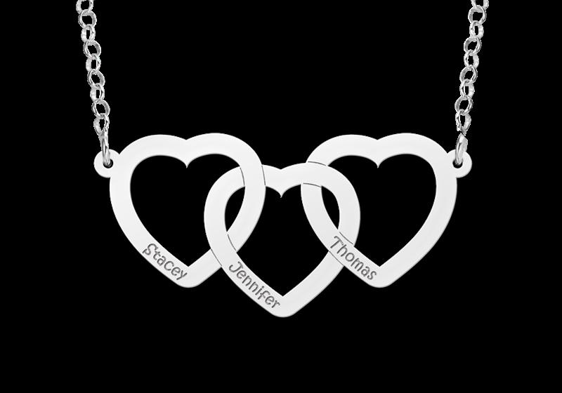 Zilveren ketting drie harten met naam