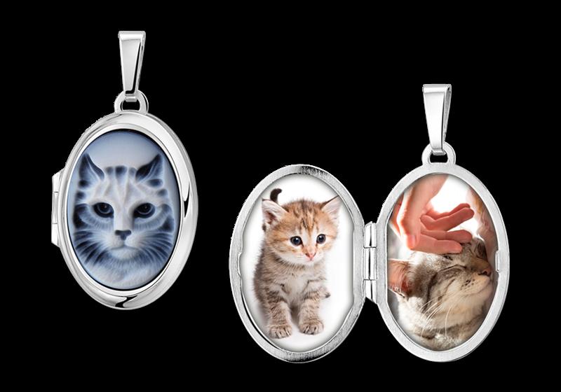 """Zilveren medaillon ovaal met blauwe camee """"kat"""" gegraveerd"""