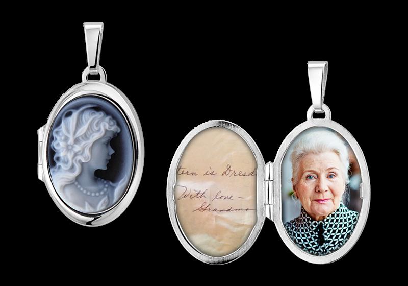 """Zilveren medaillon ovaal met blauwe camee """"vrouw"""" gegraveerd"""