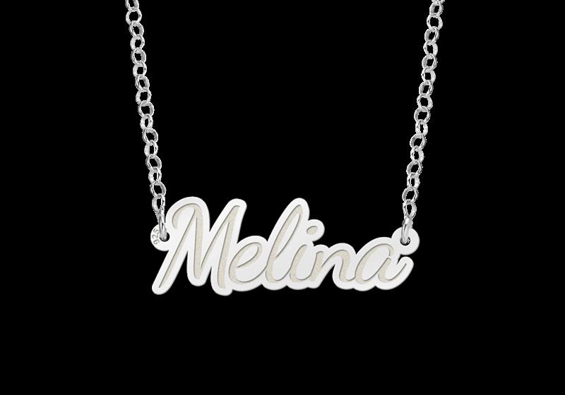 Zilveren naam ketting model Melina Gepersonaliseerd
