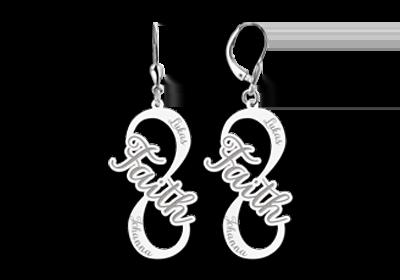 Zilveren naam oorbellen infinity