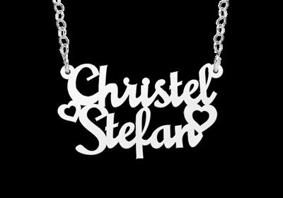 Zilveren naamcollier model Christel-Stefan Gepersonaliseerd