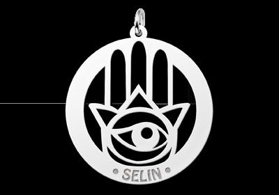 Zilveren naamhanger Hamsa Hand