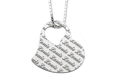 Zilveren naamhanger repeat hart