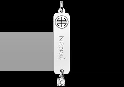 Zilveren naamhanger Shou zirkonia wit