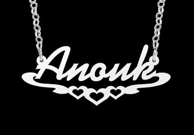 Zilveren naamketting model Anouk Gepersonaliseerd