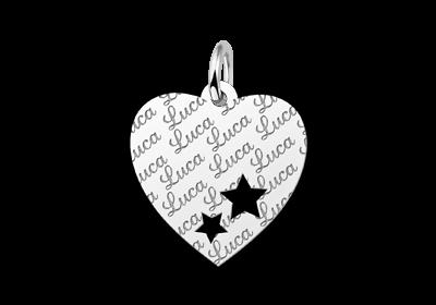 Zilveren plaatje hart naamgravure met sterretjes repeat