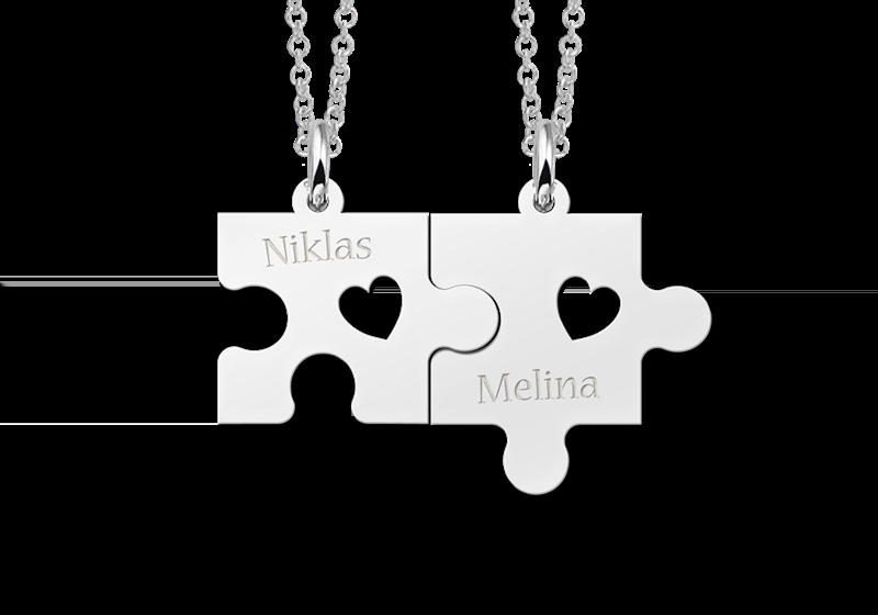 Zilveren puzzelstuk vriendschapsketting hartjes Gegraveerd