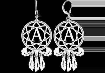 Graveer Hier☝️Jouw Zilveren veren oorbellen met letter ✅ Met Gratis Cadeau Doos 💝 Wow, kijk wat ik heb gevonden 😍 Uniek En Persoonlijk 🎁