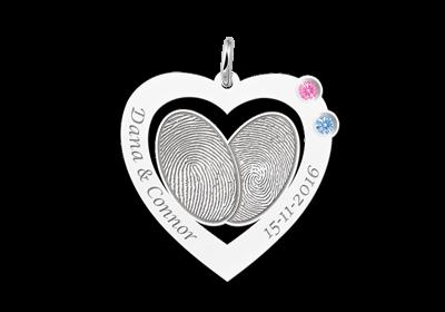 Zilveren vingerafdruk hanger met swarovski geboortestenen Gegraveerd