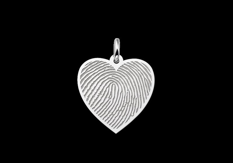 Zilveren vingerafdruk sieraad hart gegraveerd