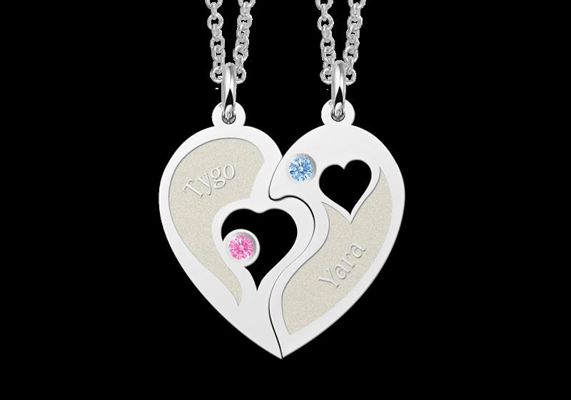 Zilveren vriendschapsketting hart met zirkonia Gegraveerd