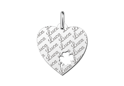 Zilveren plaatje hart naamgravure met klaver4